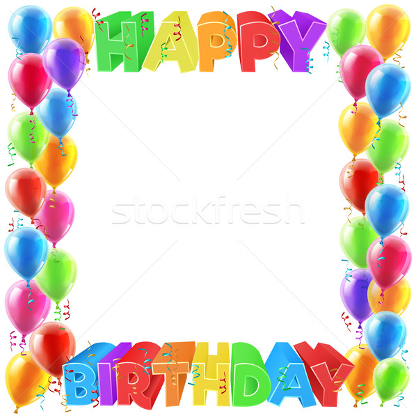 Happy Birthday Balloons Invite Border Frame Stock photo © Krisdog