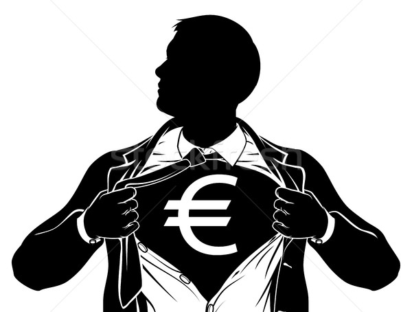 Euro Business Man Superhero Tearing Shirt Chest Stock photo © Krisdog