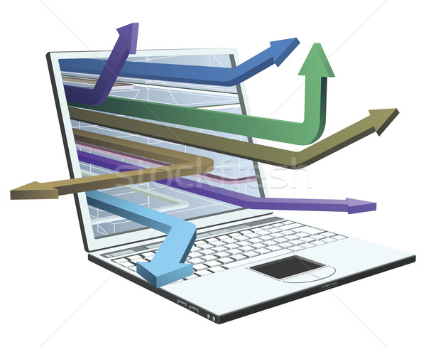 Stock photo: Laptop and arrows concept design
