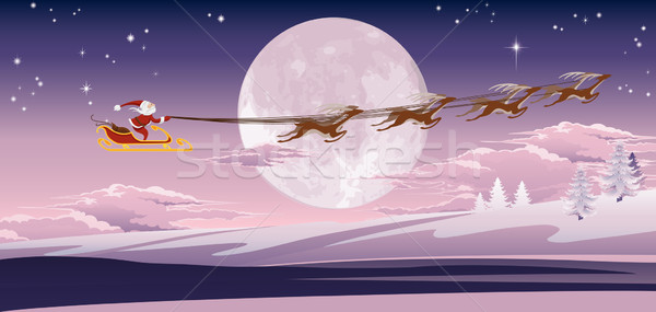 Santa flying in front of winter moon Stock photo © Krisdog