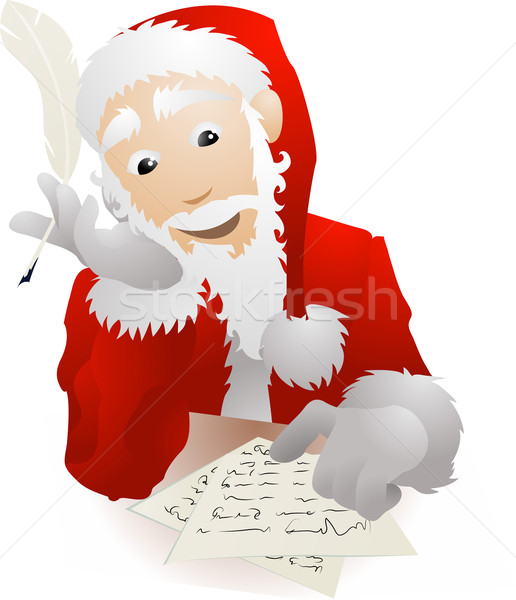 Santa Claus Checking His Christmas List or Replying to Childrens Stock photo © Krisdog