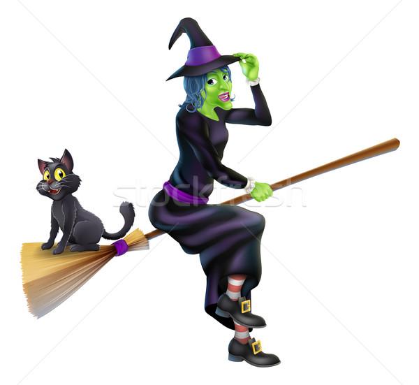 Halloween bruxa cabo de vassoura gato ilustração gato preto Foto stock © Krisdog