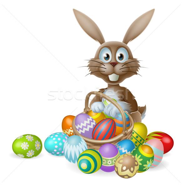 Пасхальный заяц яйца корзины кролик украшенный окрашенный Сток-фото © Krisdog