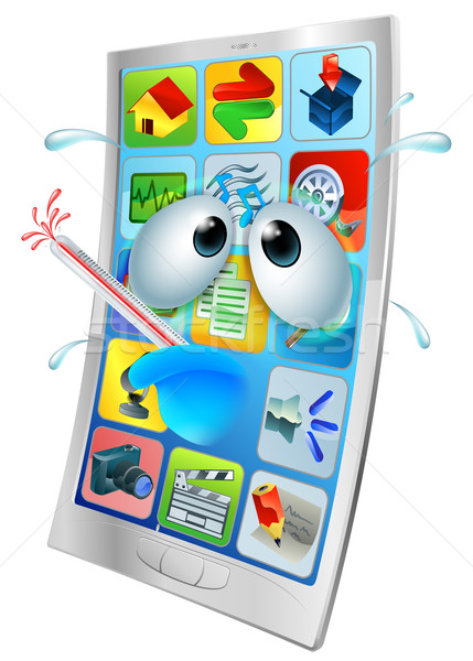 Broken phone virus cartoon Stock photo © Krisdog