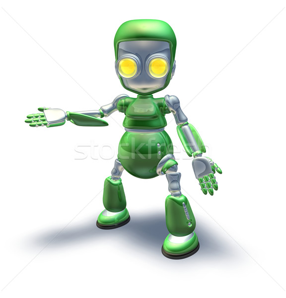 Stok fotoğraf: Sevimli · yeşil · Metal · robot · karakter
