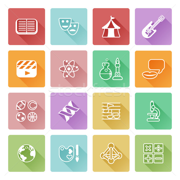 Quiz istruzione icone math sport Foto d'archivio © Krisdog