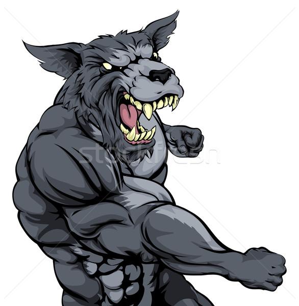 Сток-фото: волка · талисман · жесткий · мышечный · характер · спортивных
