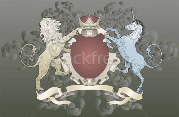 shield coat of arms  lion, unicorn, crown Stock photo © Krisdog