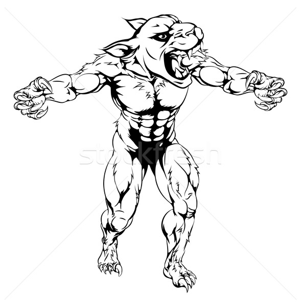 Stock photo: Panther scary sports mascot