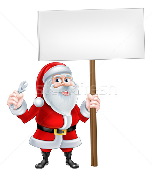 Santa Mechanic Sign Stock photo © Krisdog