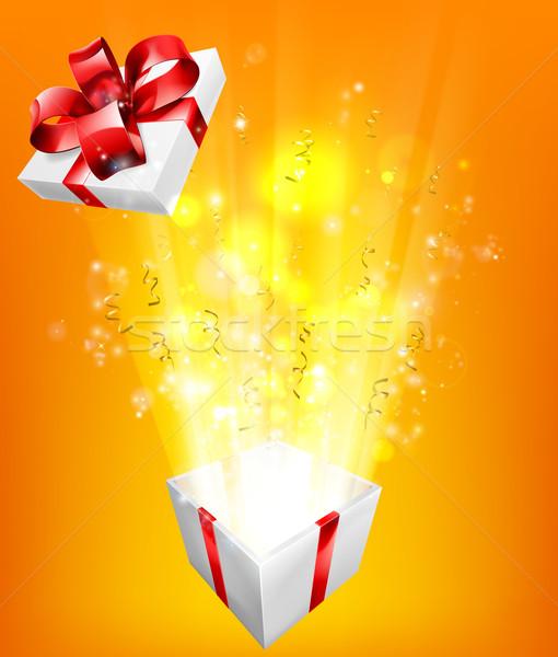 Caixa de presente explosão emocionante aniversário natal outro Foto stock © Krisdog