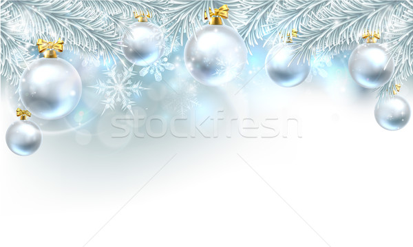 Christmas Bauble Background Top Border Stock photo © Krisdog