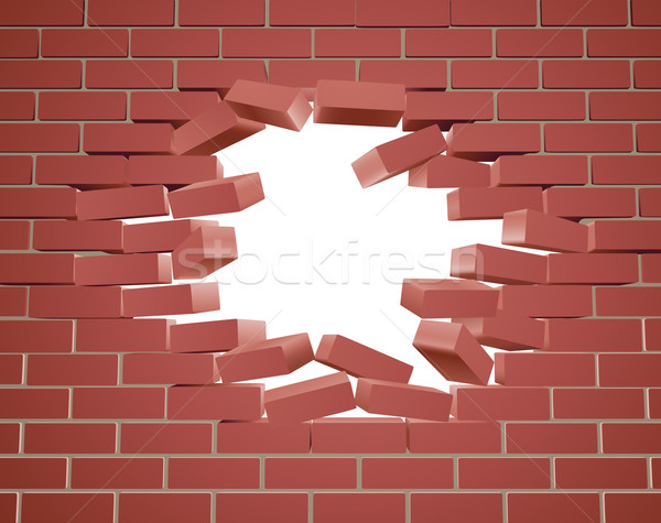 Breaking Brick Wall Stock photo © Krisdog