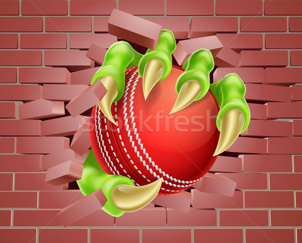 Claw with Cricket Ball Breaking Through Brick Wall Stock photo © Krisdog