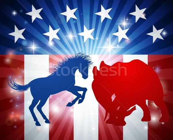 Americano eleição burro elefante silhueta outro Foto stock © Krisdog