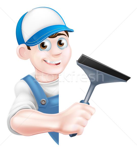 Desenho animado limpador de janelas homem boné seis azul Foto stock © Krisdog