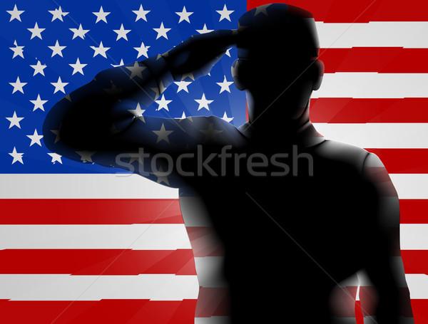 Nap sziluett katona amerikai zászló terv háttér Stock fotó © Krisdog