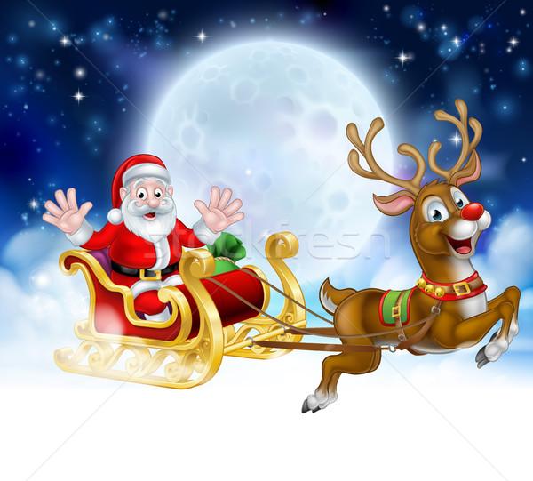 Christmas Cartoon Santa Reindeer Sleigh Scene Stock photo © Krisdog