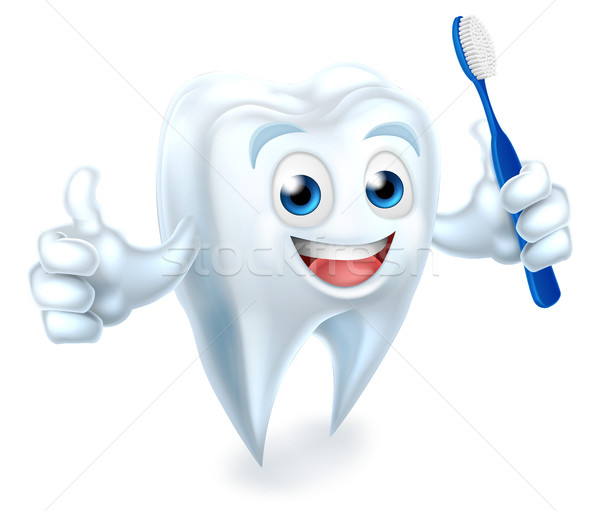 Tooth with Brush Dental Mascot Stock photo © Krisdog