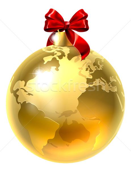 Christmas cacko łuk świecie świat ziemi Zdjęcia stock © Krisdog