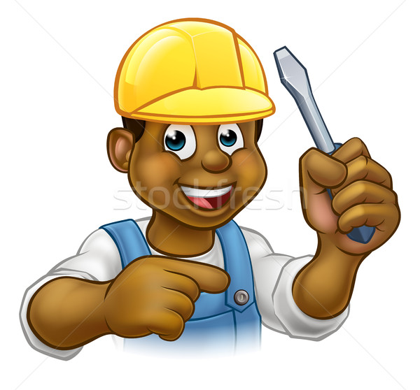 Negru electrician handyman surubelnita Imagine de stoc © Krisdog