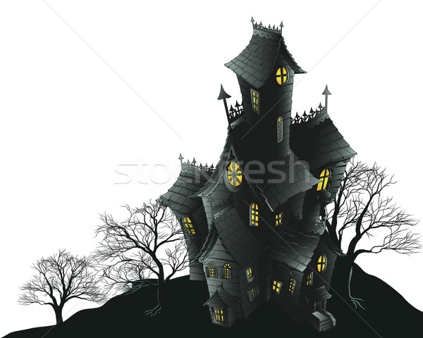 Stock photo: Scary haunted house and trees illustration