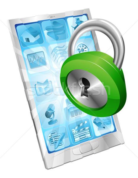Lock icon phone security concept Stock photo © Krisdog