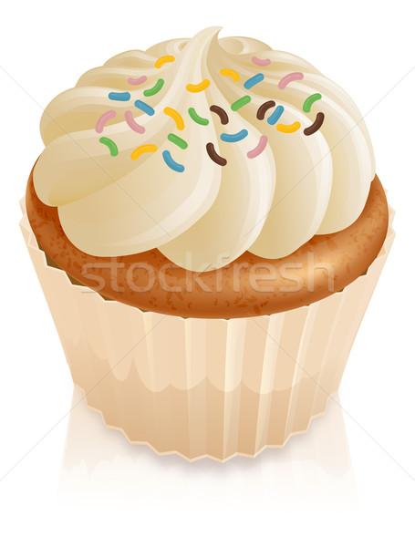 Fairy cake cupcake with sprinkles Stock photo © Krisdog