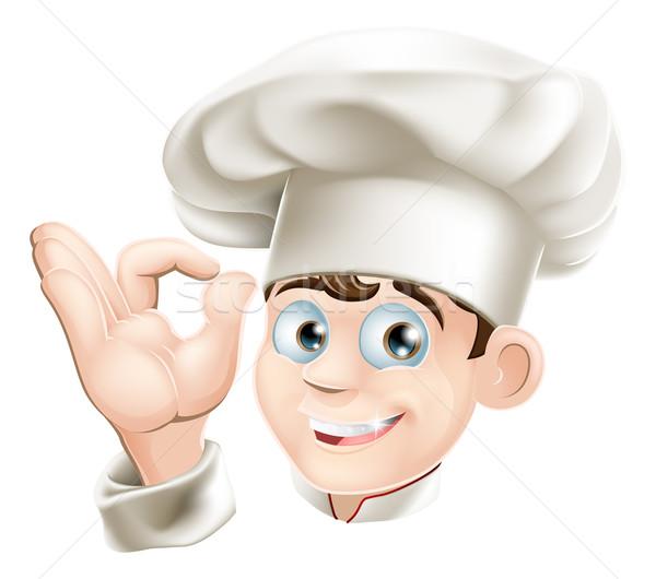 Mosolyog rajz szakács illusztráció boldog szakács sapka Stock fotó © Krisdog