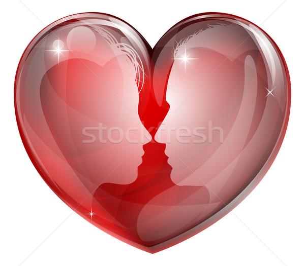 Couple faces heart Stock photo © Krisdog