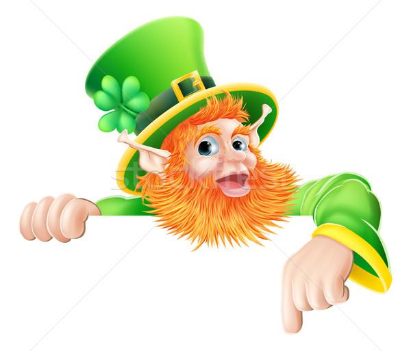 Leprechaun pointing down at sign Stock photo © Krisdog