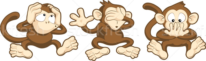 Hear no evil, see no evil, speak no evil monkeys illustration Stock photo © Krisdog