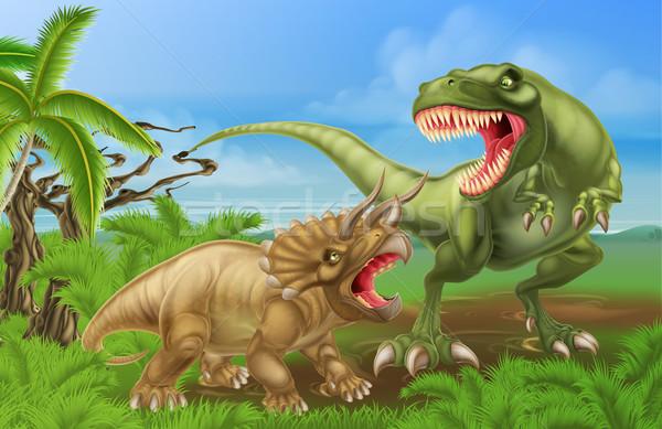 Stock photo: T Rex Triceratops Dinosaur Fight Scene