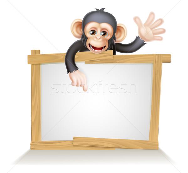 Chimpansee teken cute cartoon aap zoals Stockfoto © Krisdog