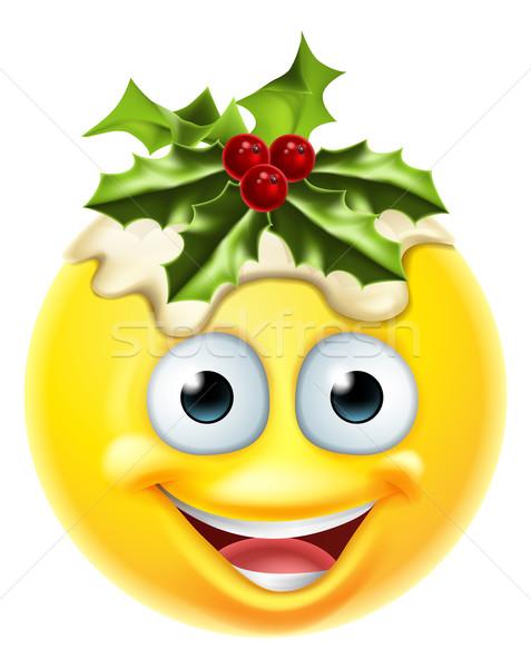 Christmas pudding żywności twarz Zdjęcia stock © Krisdog