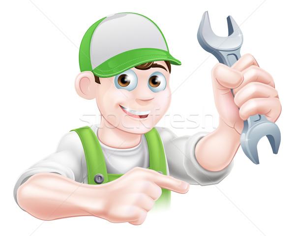 Cartoon Plumber Pointing Stock photo © Krisdog