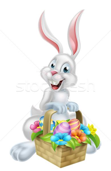 Сток-фото: белый · яйцо · охота · Пасхальный · заяц · Cartoon · кролик