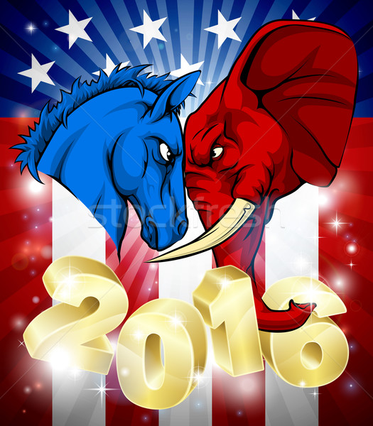 Donkey Fighting Elephant 2016 American Politics  Stock photo © Krisdog