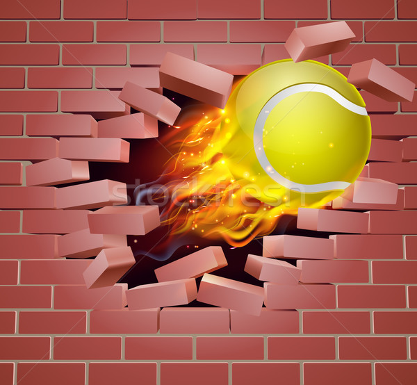 Flaming Tennis Ball Breaking Through Brick Wall Stock photo © Krisdog