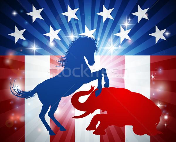Foto d'archivio: Americano · elezioni · asino · elefante · silhouette