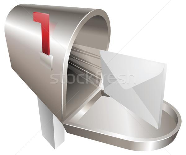 Mailbox illustratie traditioneel metaal brief vliegen Stockfoto © Krisdog