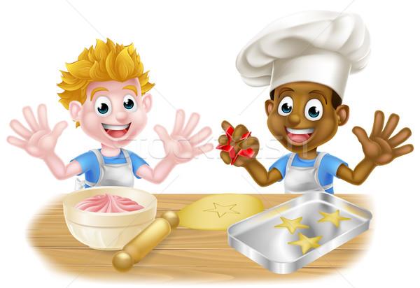 Cartoon Boys Baking Cakes Stock photo © Krisdog