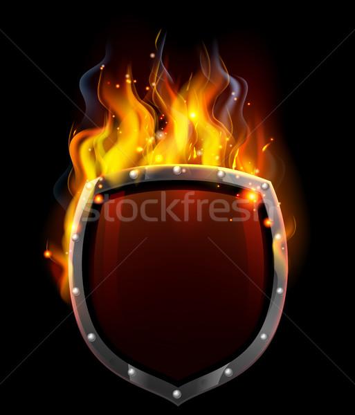 ストックフォト: シールド · 炎 · 火災 · 背景 · 金属 · にログイン
