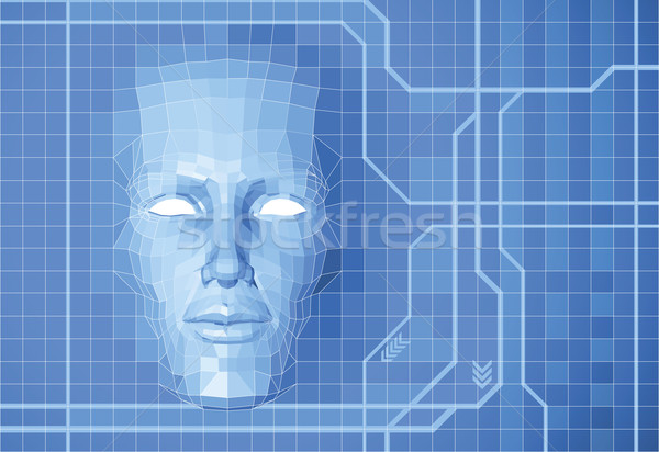 Futuro cara futurista polígono fora grade Foto stock © Krisdog