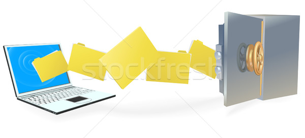Laptop computer transferring files securely Stock photo © Krisdog