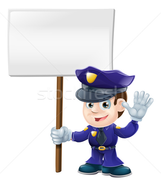 Cute police man with sign illustration Stock photo © Krisdog