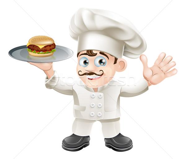 Cheeseburger şef mutlu sevimli ayakta Stok fotoğraf © Krisdog
