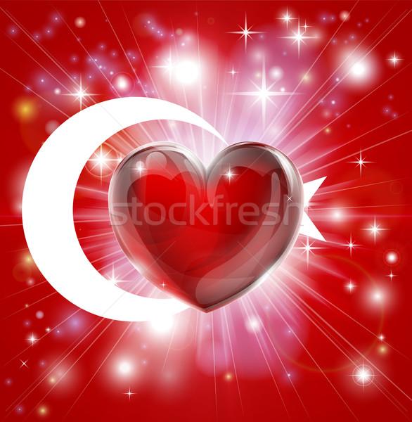 Love Turkey flag heart background Stock photo © Krisdog