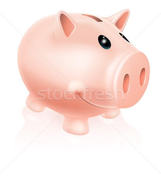 Spaarvarken karakter tekening glimlachend cartoon geld Stockfoto © Krisdog