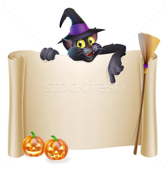 Halloween heks kat scroll teken karakter Stockfoto © Krisdog